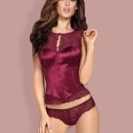 Svůdný korzet Miamor corset bordó – Obsessive