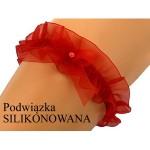 Červený dámský podvazek EVA Šifon, silikon