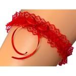Červený dámský podvazek GRACE Mašlička