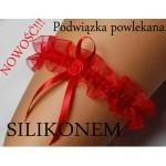 Červený podvazek se silikonem EVA SILIKON